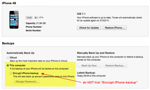 itunes unencrypted backup