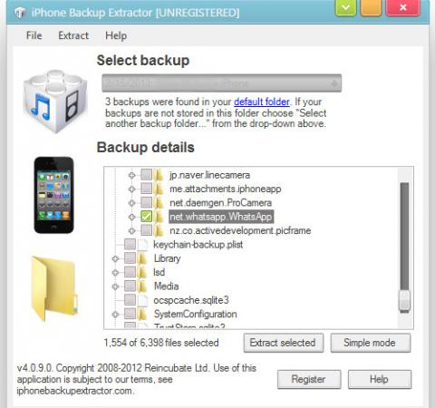 iphone backup extractor select chatstorage.sqlite