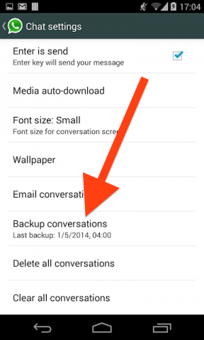 WhatsApp explicit backup - Step 2